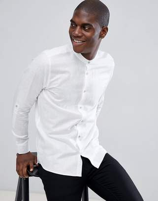Ted Baker long sleeve grandad shirt in white linen