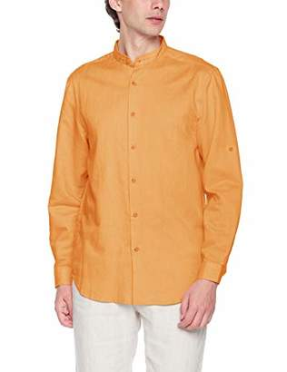 Isle Bay Linens Men's Linen Cotton Blend Roll-up Long Sleeve Band Collar Woven Shirt Standard Fit Yellow