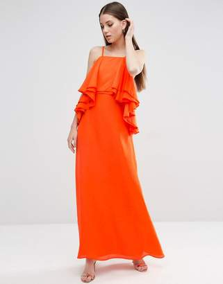 Asos DESIGN Ruffle Waterfall Soft Maxi Dress