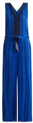 Blend of America Zeus + Dione - Amazones Geometric Jacquard Silk Jumpsuit - Womens - Blue