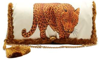 Versace Tassel Trimmed Printed Shoulder Bag - Womens - Leopard