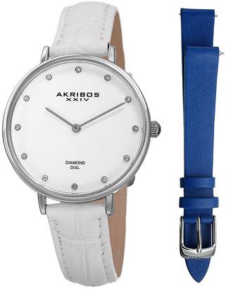 Akribos XXIV WomenS Diamond Watch & Leather Strap Set