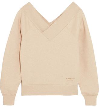 Off-the-shoulder Stretch Cotton-blend Sweatshirt - Beige