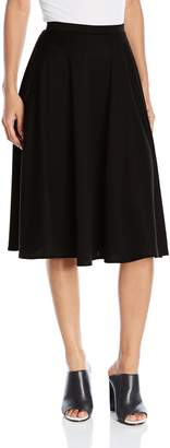 Star Vixen Women's Ponte Midi Full Skater Skirt