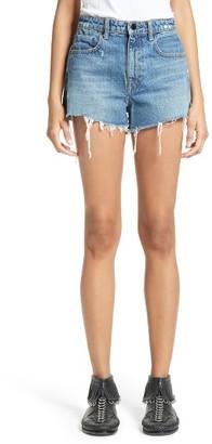 Women's Denim X Alexander Wang High Waist Frayed Denim Shorts $200 thestylecure.com