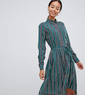 Influence Tall shirt dress in stripe print with tie waist
