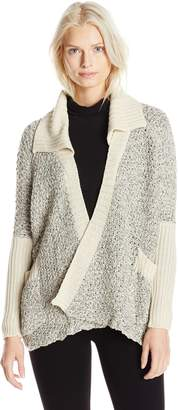 RD Style Women's Drape Textured Cardigan Sweater with Collar, White Beach/ Black