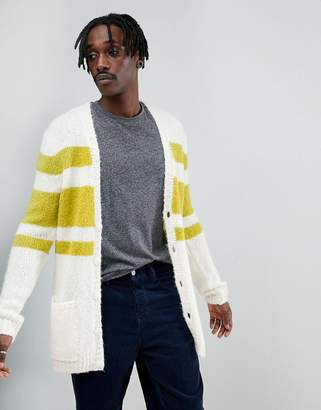 Asos DESIGN Knitted Midweight Cardigan With Stripe Design