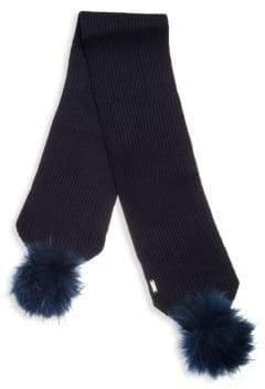 Bari Lynn Kid's Fox Fur Pom-Pom Scarf