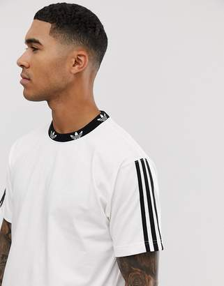 adidas t-shirt with trefoil neck print in white