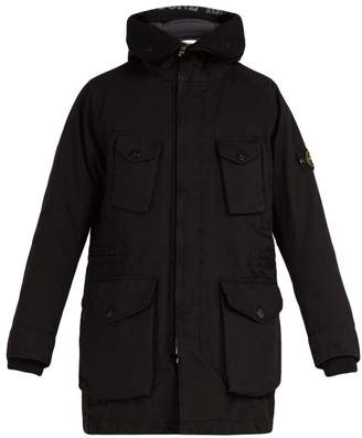 Stone Island Long Line Down Filled Hooded Coat - Mens - Black