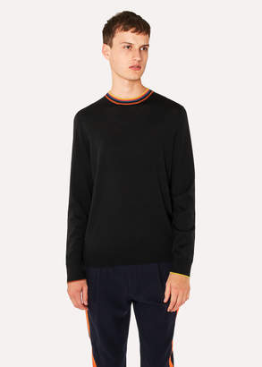 Paul Smith Men's Black Merino-Wool Sweater With 'Artist Stripe' Collar