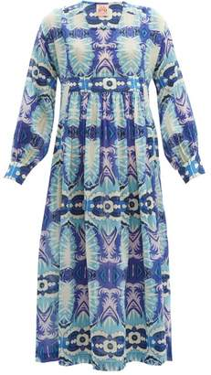 Le Sirenuse Le Sirenuse, Positano - Callisat Fish Tail Print Cotton Dress - Womens - Blue Multi