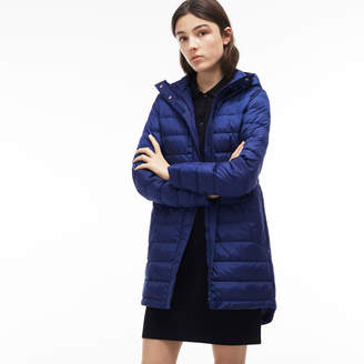 Lacoste Women's Long Hooded Quilted Down Jacket