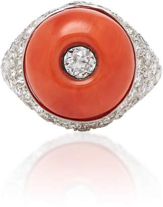 Vintage Furst 18K Gold And Coral Ring