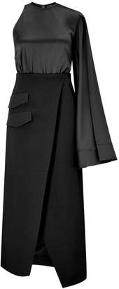 SOLACE London Marceo Satin And Crepe Midi Dress