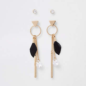 River Island Gold feather drop earring multipack