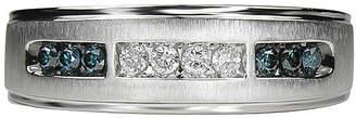 JCPenney MODERN BRIDE Mens 1/4 CT. T.W White & Color-Enhanced Blue Diamond 10K White Gold Wedding Band