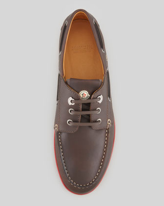Moncler Guadaloupe Boat Shoe, Brown/Red