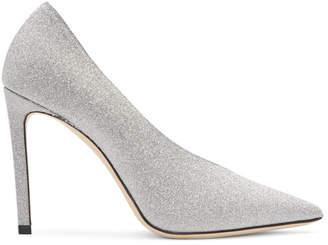 Jimmy Choo Silver Glitter Sophia 100 Heels