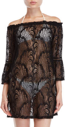 Blue Island Lace Off-the-Shoulder Cover-Up Dress