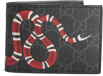 Gucci Bifold Wallet GG Supreme Kingsnake (4 Card Slots) Black