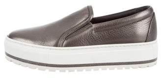 Brunello Cucinelli Monili-Trimmed Flatform Sneakers