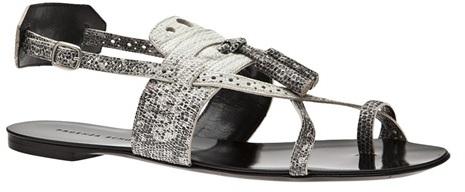 Proenza Schouler Lizard Tassel Flat Sandal