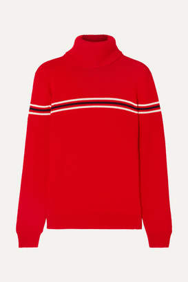Perfect Moment Orelle Striped Merino Wool Turtleneck Sweater - Red