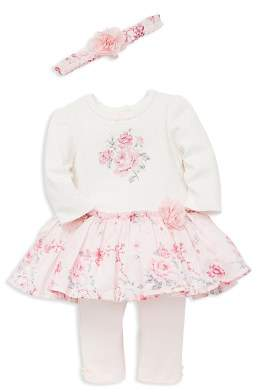 Little Me Girls' Dotted Rose-Print Sweater Dress, Leggings & Headband Set - Baby