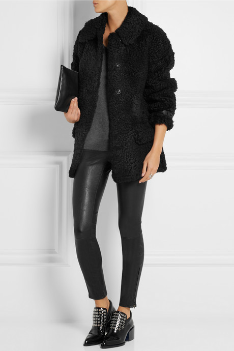 Burberry Oversized leather-trimmed shearling coat