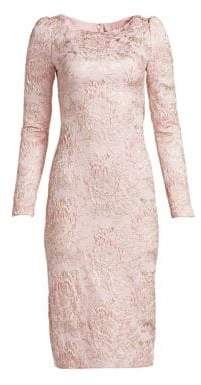 Theia Metallic Jacquard Cocktail Dress