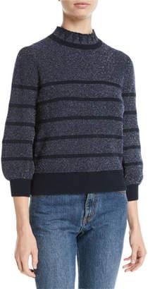 Co Mock-Neck 3/4-Sleeve Striped Metallic-Knit Sweater
