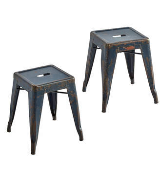 Rejuvenation Pair of French Air Force Tolix Stools w/ Aged Blue Finish