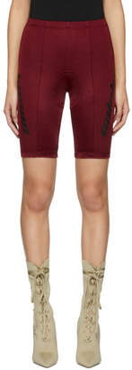 Yeezy Burgundy Seamed Biker Shorts