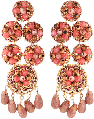 Lydell NYC Multihued Statement Earrings, Pink