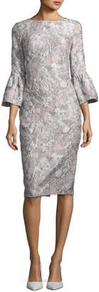 Theia Metallic Stretch Bell-Sleeve Jacquard Cocktail Dress