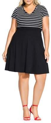 City Chic Plus Sailor-Stripe Combo Dress