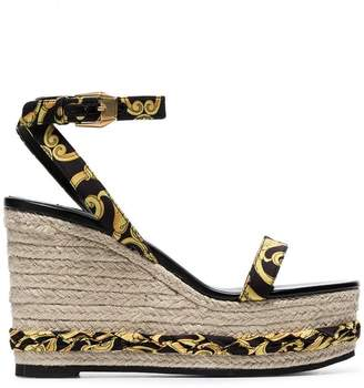 b80a7e17fa8 Versace tribute baroque print ankle strap straw wedges