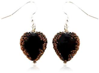 Glass Heart Martick Black Bohemian French Wire Earrings