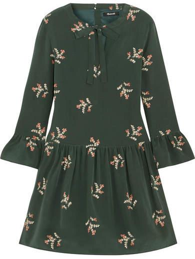 Madewell - Pussy-bow Floral-print Silk Mini Dress - Dark green