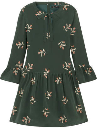 Madewell Pussy-bow Floral-print Silk Mini Dress - Dark green