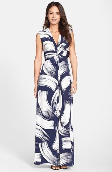 Women's Eliza J Brush Print Jersey Maxi Dress