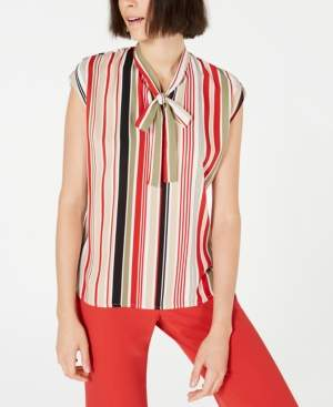 Bar III Striped Tie-Neck Top, Created for Macy's