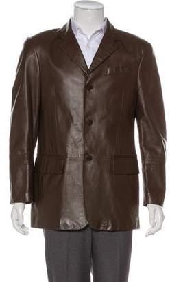 Versace Leather Notch-Lapel Blazer