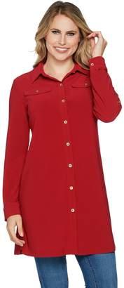 Susan Graver Textured Liquid Knit Button Front Tunic Shirt