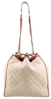 Chanel Leather-Trimmed Bucket Bag Beige Leather-Trimmed Bucket Bag