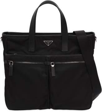 Prada Nylon Tote Bag W/ Leather Details