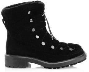 Aquatalia Lorena Shearling-Trim Suede Ankle Boots