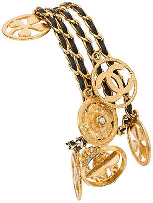 One Kings Lane Vintage Chanel Leather and Charms Gold Bracelet